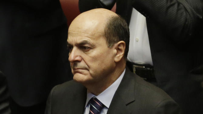 Italian Democratic party leader Pierluigi Bersani claps his hands as he attends the first parliament session to elect the lower chamber president in Rome, Friday, March 15, 2013.  Italy's newly elected Parliament was heading toward political gridlock as it meets for the first time after inconclusive elections gave no party a clear victory. Investors will keep a close eye on the inaugural session Friday when both chambers will vote for leaders. Only then can Italy's president open talks on forming a government, expected next week. (AP Photo/Gregorio Borgia)