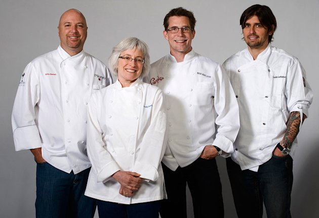 "Chefs Wilo Benet, Cindy Pawlcyn, Rick Bayless, and Ludo Lefebvre compete in ""Top Chef: Masters.""."
