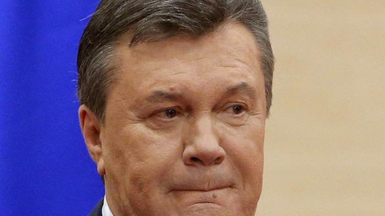 Ousted Ukrainian President Yanukovich attends a news conference in Rostov-on-Don