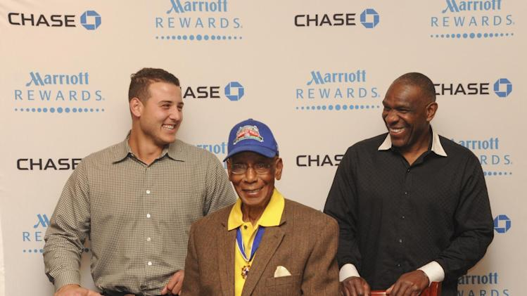 Chicago baseball legends Ernie Banks and Andrew Dawson and 2014 All Star Anthony Rizzo, prepare to meet Chase Marriott Rewards cardmembers on Friday, July 11, 2014 in Chicago. (Photo by Peter Barreras/Invision for Chase Marriott Rewards/AP Images)
