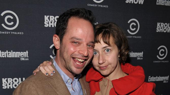 """Actor/comedian Nick Kroll, left, and Kristen Schaal attend an exclusive screening of Comedy Central's """"Kroll Show"""" hosted by Entertainment Weekly on Tuesday, January 15, 2013 at LA's Silent Movie Theatre in Los Angeles. (Photo by John Shearer/Invision for Entertainment Weekly/AP Images)"""
