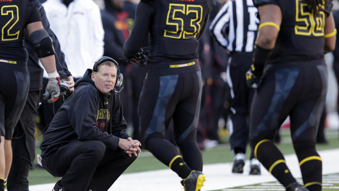Maryland head coach Randy Edsall looks on as players transition between plays during the second half of an NCAA college football game against Florida State in College Park, Md., Saturday, Nov. 17, 2012. Florida State won 41-14. (AP Photo/Patrick Semansky)