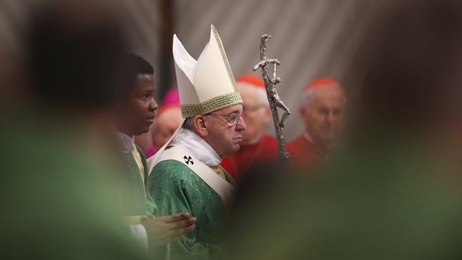 Pope Francis leads the opening mass for the synod of bishops on the family in St. Peter's Basilica at the Vatican