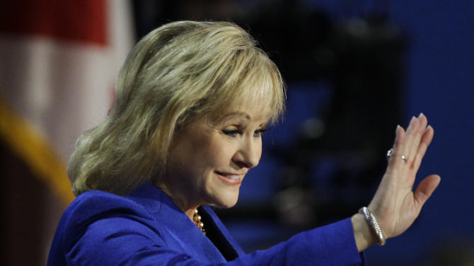 Oklahoma Governor Mary Fallin waves to candidates during the Republican National Convention in Tampa, Fla., on Tuesday, Aug. 28, 2012. (AP Photo/Charlie Neibergall)