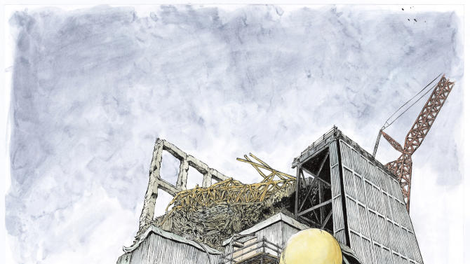 "In this drawing released by Kazuto Tatsuta /KODANSHA, the main character in comic-artist Kazuto Tatsuta's comic ""1F: The Labor Diary Of Fukushima Dai-ichi Nuclear Power Plant"" stands against the tsunami-crippled plant's reactor shattered by melt-down. Tatsuta worked at the plant that suffered three meltdowns after the 2011 tsunami from June to December 2012 in part because he was struggling as a manga artist, but ""1F"" is his biggest success yet. The opening episode won a newcomer award and was published last year in Morning, a weekly manga magazine with a circulation of 300,000. (AP Photo/Kazuto Tatsuta /KODANSHA)"