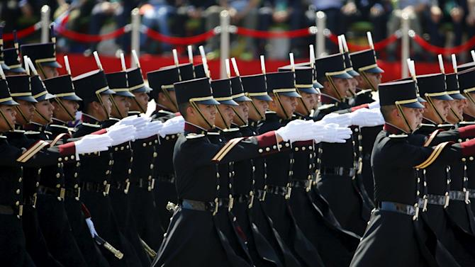 Mexican soldiers march during the military parade to mark the 70th anniversary of the end of World War Two, in Beijing