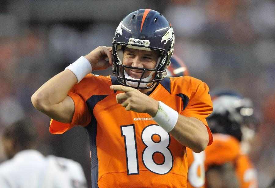 Denver Broncos quarterback Peyton Manning  reacts after his team scored a touchdown in the first half of an NFL football preseason game against the Seattle Seahawks, Saturday, Aug. 18, 2012, in Denver. (AP Photo/Jack Dempsey)