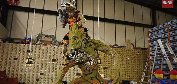 Super-sized Rocket and Groot re-created in Lego