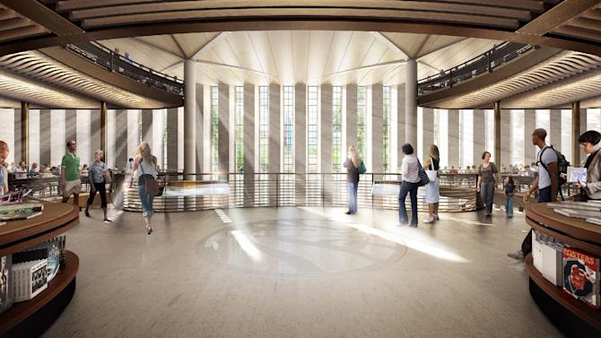 This undated artist rendering provided by the New York Public Library from dbox / Foster + Partners shows the entrance to a new lending library in a proposed $300 million renovation of its landmark Fifth Avenue building that will more than double its public space, the New York Public Library president said Wednesday, Jan. 19, 2012. (AP Photo/New York Public Library from dbox / Foster + Partners)