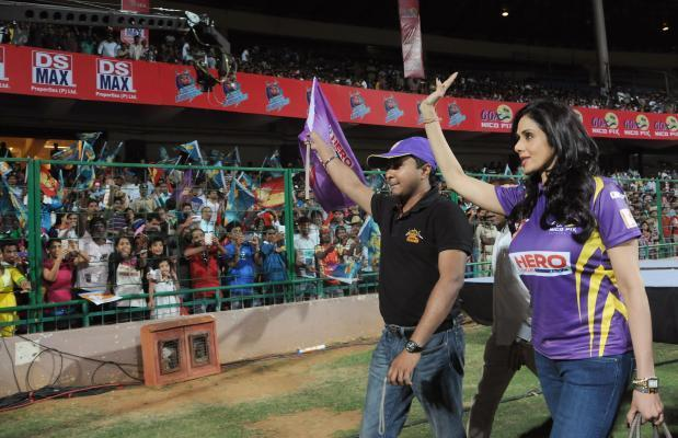 Actress Sridevi during a Celebrity Cricket League match between Bengal Tigers and Karnataka Bulldozers at Chinnaswamy Stadium in Bangalore on Jan.26, 2014. (Photo: IANS)