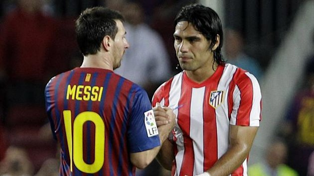 Barcelona-Atletico Madrid, Lionel Messi and Radamel Falcao