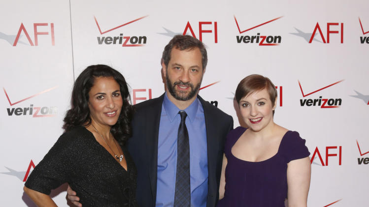 Writer/producer Jennifer Konner, writer/director Judd Apatow, and writer/actress Lena Dunham attend the 13th Annual AFI Awards Luncheon at the Four Seasons Hotel Los Angeles at Beverly Hills on Friday, January 11, 2013 in Los Angeles. (Photo by Todd Williamson/Invision/AP)