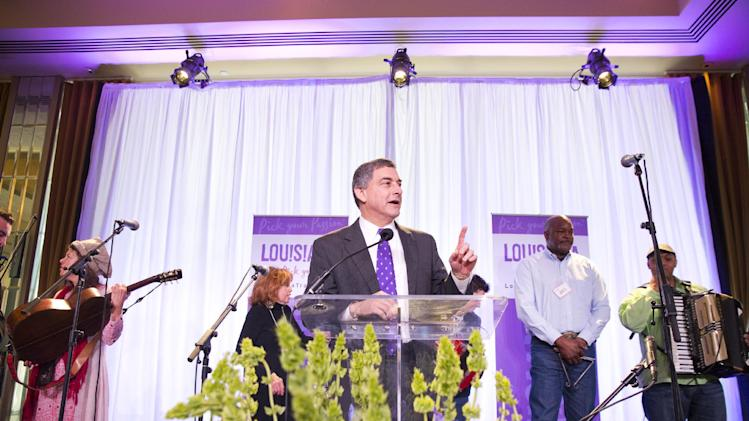 At center, Lt. Governor Jay Dardenne thanks guests for attending the Only in Louisiana pre-Grammy brunch, on Saturday, Feb. 9, 2013 at the Dorothy Chandler Pavilion in Los Angeles. (Photo by Colin Young-Wolff/Invision for LouisianaTravel.com/AP Images)