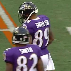 Baltimore Ravens quarterback Joe Flacco to wide receiver Steve Smith for 11 yards