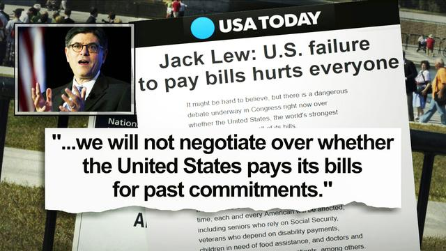 """Lew: """"We will not negotiate over whether U.S. pays its bills"""""""