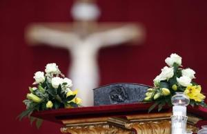 Relics of the Apostle Peter are pictured on the altar before Pope Francis' mass at St. Peter's Square at the Vatican