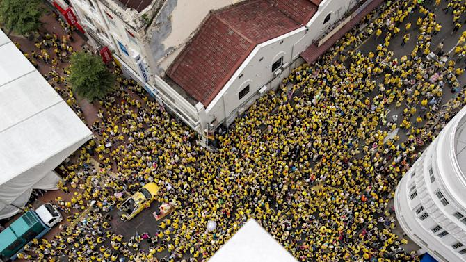"""Supporters of pro-democracy group """"Bersih"""" (Clean) gather at Central Market in Malaysia's capital city of Kuala Lumpur"""