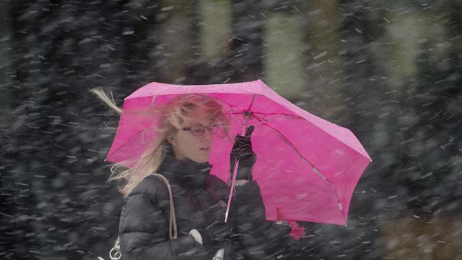 A woman shields herself from a winter snow storm with an umbrella Friday, March 8, 2013, in Philadelphia.  Many areas in the state reported 4 to 6 inches of snow. (AP Photo/Matt Rourke)