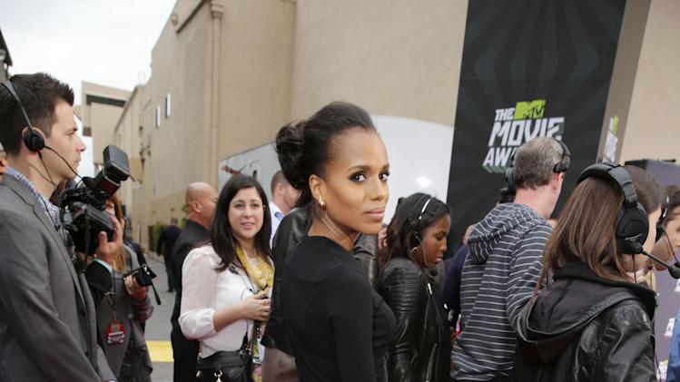 Kerry Washington arrives at the MTV Movie Awards in Sony Pictures Studio Lot in Culver City, Calif., on Sunday April 14, 2013.  (Photo by Eric Charbonneau/Invision for MTV/AP Images)