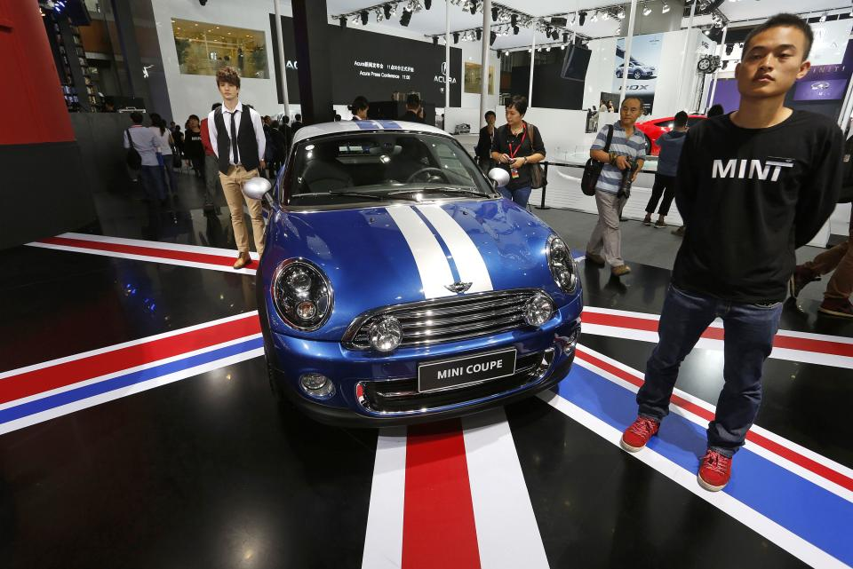 A Mini coupe is displayed at the Guangzhou Auto Show in China's southern city of Guangzhou Thursday, Nov. 22, 2012. China's second largest auto show kicked off Thursday. (AP Photo/Vincent Yu)