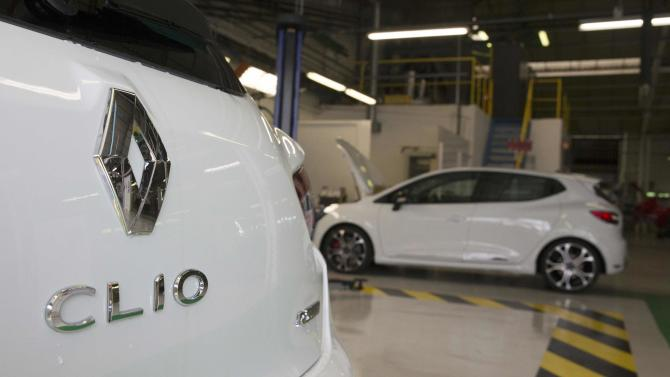 New Clio RS cars by French carmaker Renault are seen on the assembly line at Renault factory in Dieppe