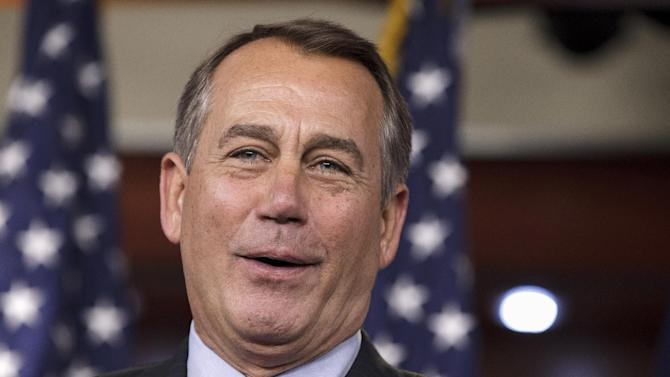 House Speaker John Boehner of Ohio, talks about an accord on the payroll tax cut negotiations, Thursday, Feb. 16, 2012, during a news conference on Capitol Hill in Washington. (AP Photo/J. Scott Applewhite)