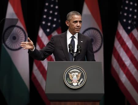 U.S. President Barack Obama addresses a gathering at Siri Fort Auditorium in New Delhi