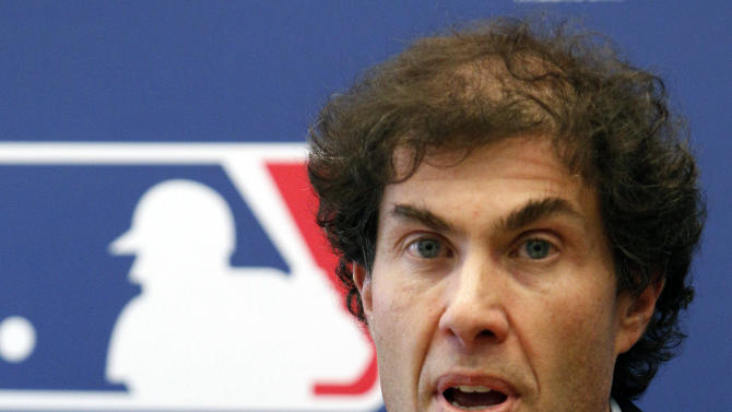 FILE - This April 21, 2011 file photo shows baseball players union head Michael Weiner speaking at a news conference in New York. Weiner is undergoing treatment for a brain tumor. The union said Tuesday, Aug. 21, 2012,  that he began treatment a day earlier. The union anticipates he will continue to work from its New York office on a daily basis. (AP Photo/Frank Franklin II, File)