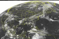 This NOAA satellite image taken Monday, Aug. 6, 2012 at 1:45 a.m. EDT shows cloud cover ahead of a cold front that extends from the Lower Great Lakes to the Lower Mississippi Valley. Areas of showers, heavy rain and thunderstorms are embedded in cloud cover in West Virginia, southern New England, Mississippi and Florida. Offshore and in the Caribbean, Tropical Storm is visible at about about 220 miles east of Cabo Gracias a Dios on the Nicaragua and Honduras border. Ernesto continues moving westward across the Caribbean near 13 mph with maximum sustained winds near 50 mph and higher gusts. (AP PHOTO/WEATHER UNDERGROUND)