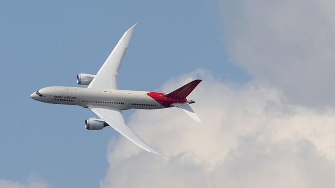 An Air India Airlines Boeing 787 dreamliner performs during the 50th Paris Airshow on June 14.