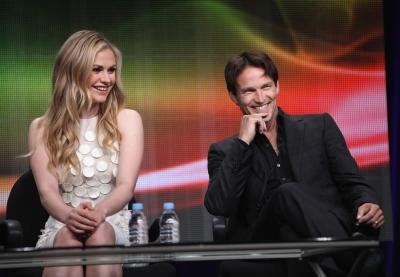 "Anna Paquin and Stephen Moyer take part in the HBO presentation of ""True Blood"" at the Television Critics Association Summer Session 2011 at the Beverly Hilton, July 28, 2011 -- Getty Premium"