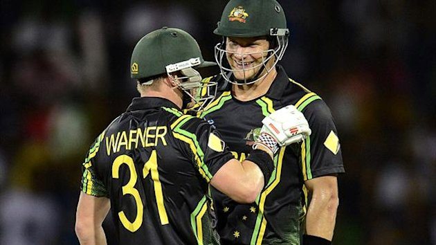 Australia's Shane Watson and David Warner at the World T20 (Reuters)