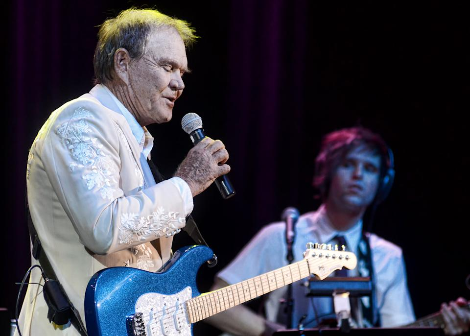 Glen Campbell performs with his band at the IP Casino in Biloxi, Ms. on Friday, July 15, 2011. (AP Photo/William Colgin)