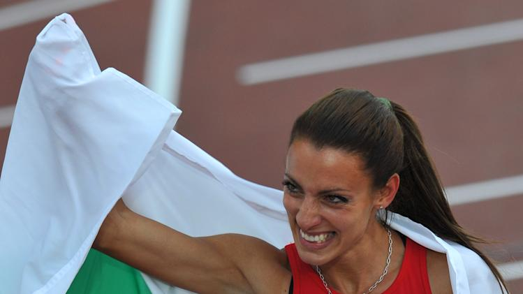 Bulgaria's Ivet Lalova celebrates after