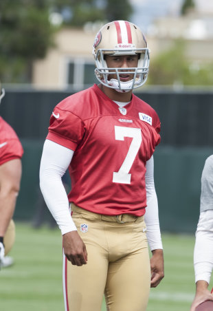 "Niners QB Colin Kaepernick is ""the kind of player people like."" (USA"