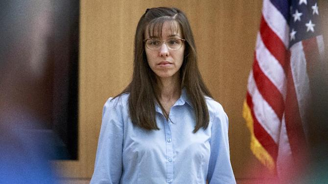 Defendant Jodi Arias gets ready to take the stand to testify during her murder trial at Judge Sherry Stephens'   Maricopa County Superior Court  in Phoenix on Wednesday, Feb. 20, 2013.   Arias is charged in the 2008 stabbing and shooting death of her lover, Alexander.  She faces the death penalty if convicted of first-degree murder.  (AP Photo/The Arizona Republic, Charlie Leight, Pool)