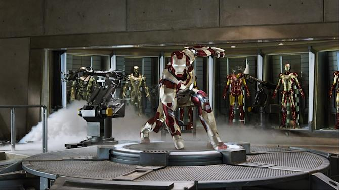 """This undated publicity image released by Marvel shows Robert Downey Jr., as Tony Stark/Iron Man, in a scene from """"Marvel's Iron Man 3.""""  """"Marvel's Iron Man 3"""" was one of several upcoming films to receive spotlight treatment with an ad that aired during Super Bowl XLVII on Sunday, Feb. 3, 2013. (AP Photo/Marvel)"""