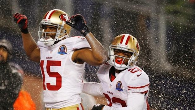 San Francisco 49ers&#39; Michael Crabtree celebrates his touchdown against the New England Patriots with team-mate LaMichael James (Reuters)