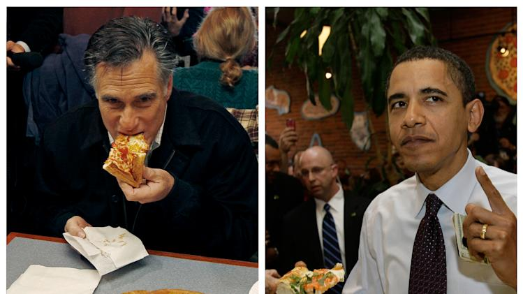 "In this combination of file photos, Republican presidential candidate former Mass. Gov. Mitt Romney, left, takes a bite of pizza during lunch with his wife Ann while campaigning at Village Pizza in Newport, N.H., Dec. 20, 2011, and then-Senator Barack Obama, right, takes a bite of pizza at American Dream Pizza in Corvallis, Ore., March 21, 2008. Pizza Hut is rethinking its contest daring people to ask ""Sausage or Pepperoni?"" at the presidential debate Tuesday, Oct. 16, 2012, After the stunt triggered backlash last week, the company says it's moving the promotion online, where a contestant will be randomly selected to win free pizza for life.  (AP Photo)"
