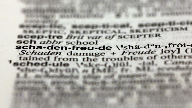 The word schadenfreude, from the 11th edition of Merriam-Webster's Collegiate Dictionary, is shown in this photograph, in New York,  Wednesday, Dec. 5, 2012.  Thanks to the election, socialism and capitalism are forever wed as Merriam-Webster's most looked-up words of 2012. Democracy, globalization, marriage, meme, malarkey, schadenfreude and bigot also made the Top 10. (AP Photo/Richard Drew)