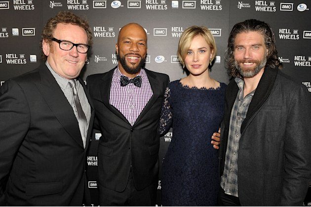 "Colm Meaney, Common, Dominique McElligott, and Anson Mount arrive at the premiere of AMC's ""Hell on Wheels"" at LA Live on October 27, 2011 in Los Angeles, California."