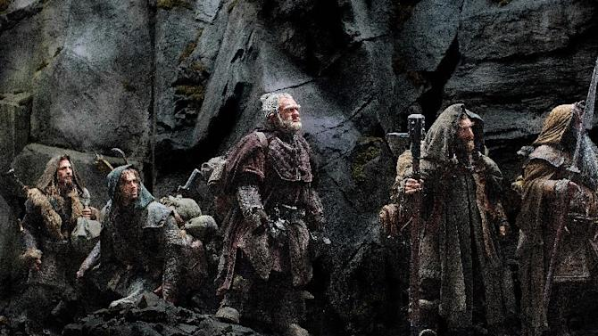"This film released by Warner Bros., shows, from left, Dean O'Gorman as Fili, Aidan Turner as Kili, Mark Hadlow as Dori, Jed Brophy as Nori and William Kircher as Bifur in a scene from the fantasy adventure ""The Hobbit: An Unexpected Journey."" (AP Photo/Warner Bros.)"
