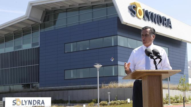 FILE - In this May 31, 2012 file photo, Republican presidential candidate, former Massachusetts Gov. Mitt Romney holds a news conference outside the Solyndra manufacturing facility in Fremont, Calif.  Mitt Romney mischaracterized an Energy Department Inspector General investigation when he claimed it found the Obama administration had steered federal contracts to friends and family at Solyndra, the California solar company that went bankrupt. (AP Photo/Mary Altaffer, File)