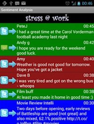 "An image showing the Android app ""Stress @ Work"", developed by the University of Portsmouth. The mobile phone app can predict the tone of incoming messages before a user reads them, colour coding them so that users are not caught off guard by angry or hostile words"