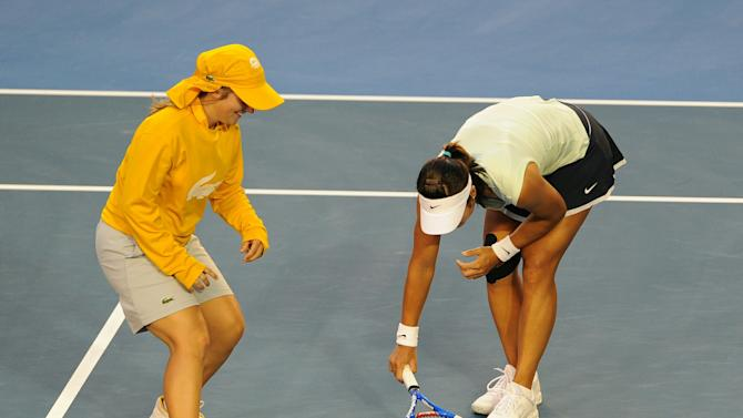 Li Na of China traps a moth on the court