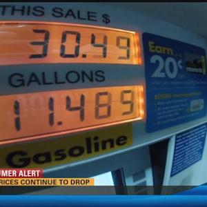 Gas prices continue to fall 5:00 p.m.