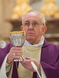Pope Francis I conducts a mass in Santa Anna church inside the Vatican, in a picture released by Osservatore Romano at the March 17, 2013. REUTERS/Osservatore Romano