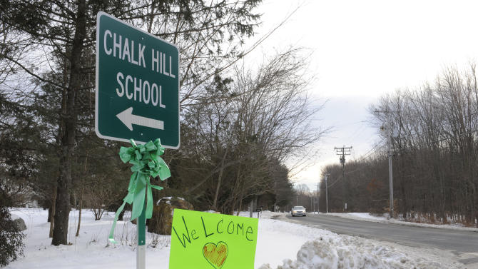 A sign for Chalk Hill School is seen in Monroe, Conn., Wednesday, Jan. 2, 2013.  School resumes Wednesday for students in Newtown, Conn., except for the Sandy Hook Elementary School students, who will begin classes on Thursday at Chalk Hill School.  The school was overhauled specially for them in the neighboring town of Monroe, Conn. (AP Photo/Jessica Hill)