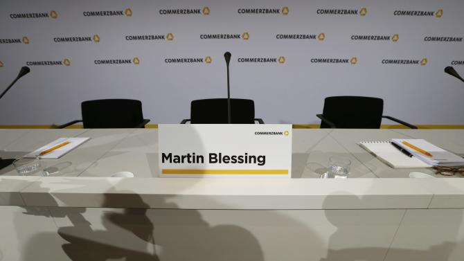 The empty chair of Commerzbank Chief Executive Blessing is pictured before the bank's annual news conference in Frankfurt