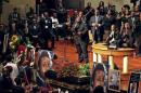 Musicians perform during funeral service for Michael Brown at Friendly Temple Missionary Baptist Church in St. Louis